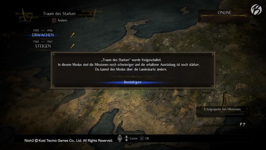 Nioh 2 - New Game Plus: Im »Traum des Starken« geht es noch einmal von Vorne los, nur noch schwerer.