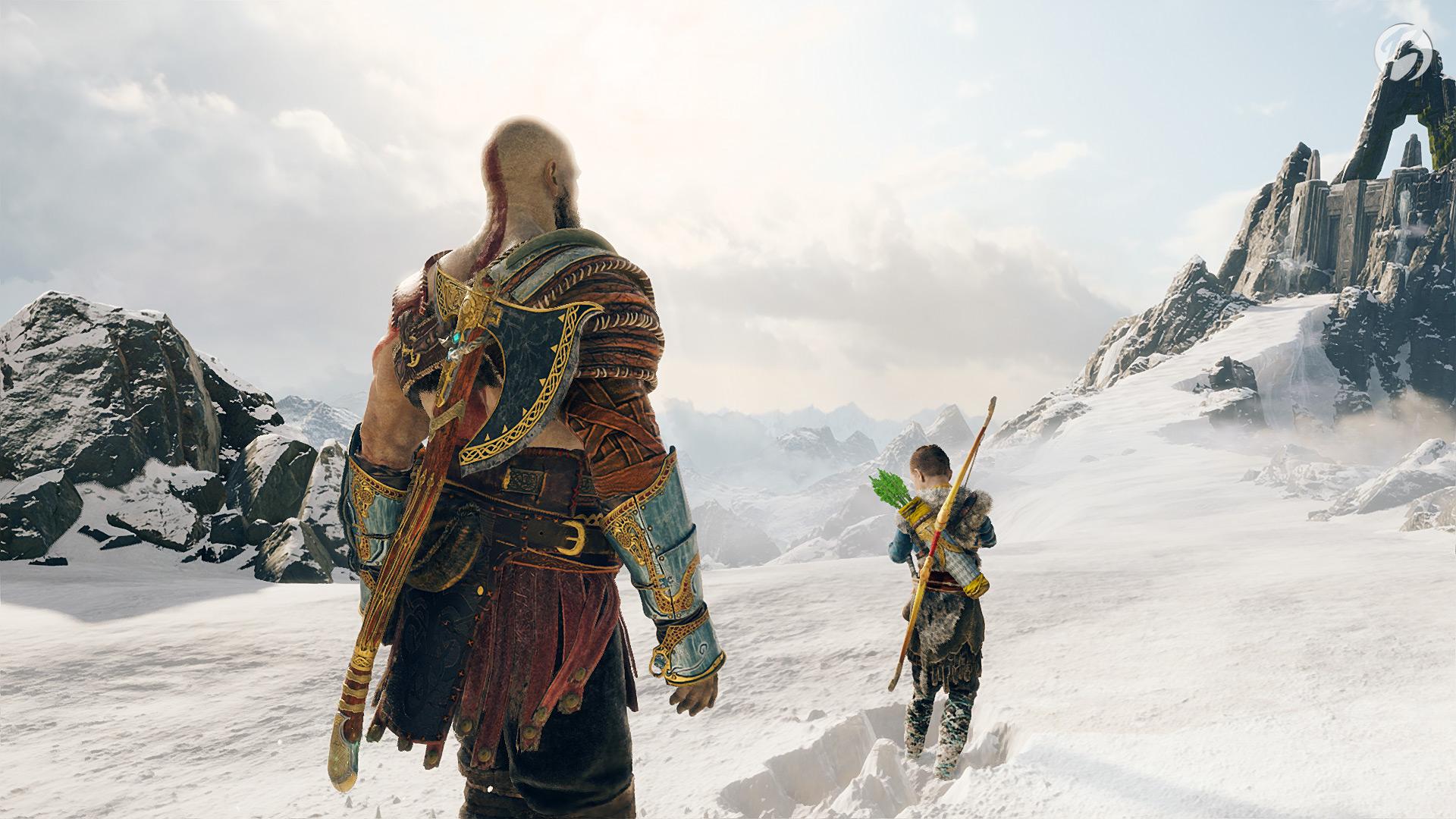 God of War - Kratos und Atreus auf dem Gipfel.