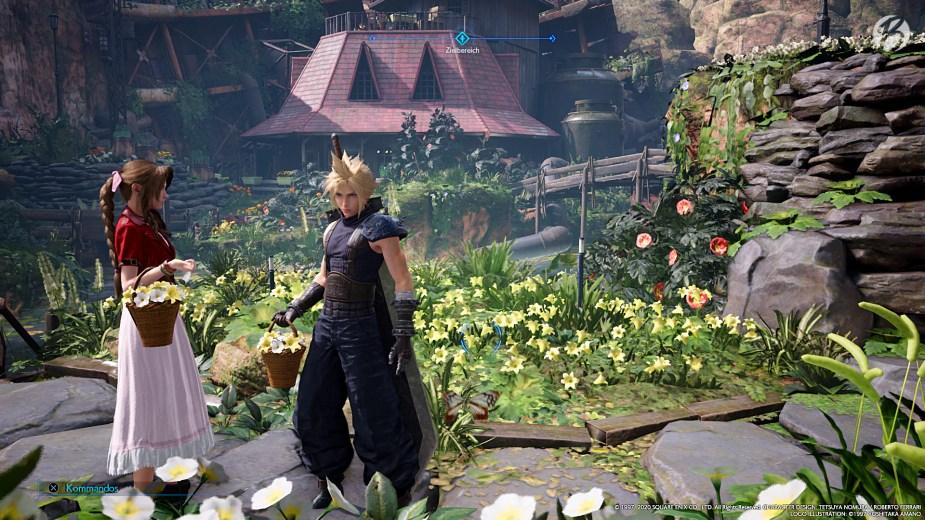 FINAL FANTASY VII (Remake) - Aerith und Cloud pflücken verschiedene Blumen für den Helmchenhof.
