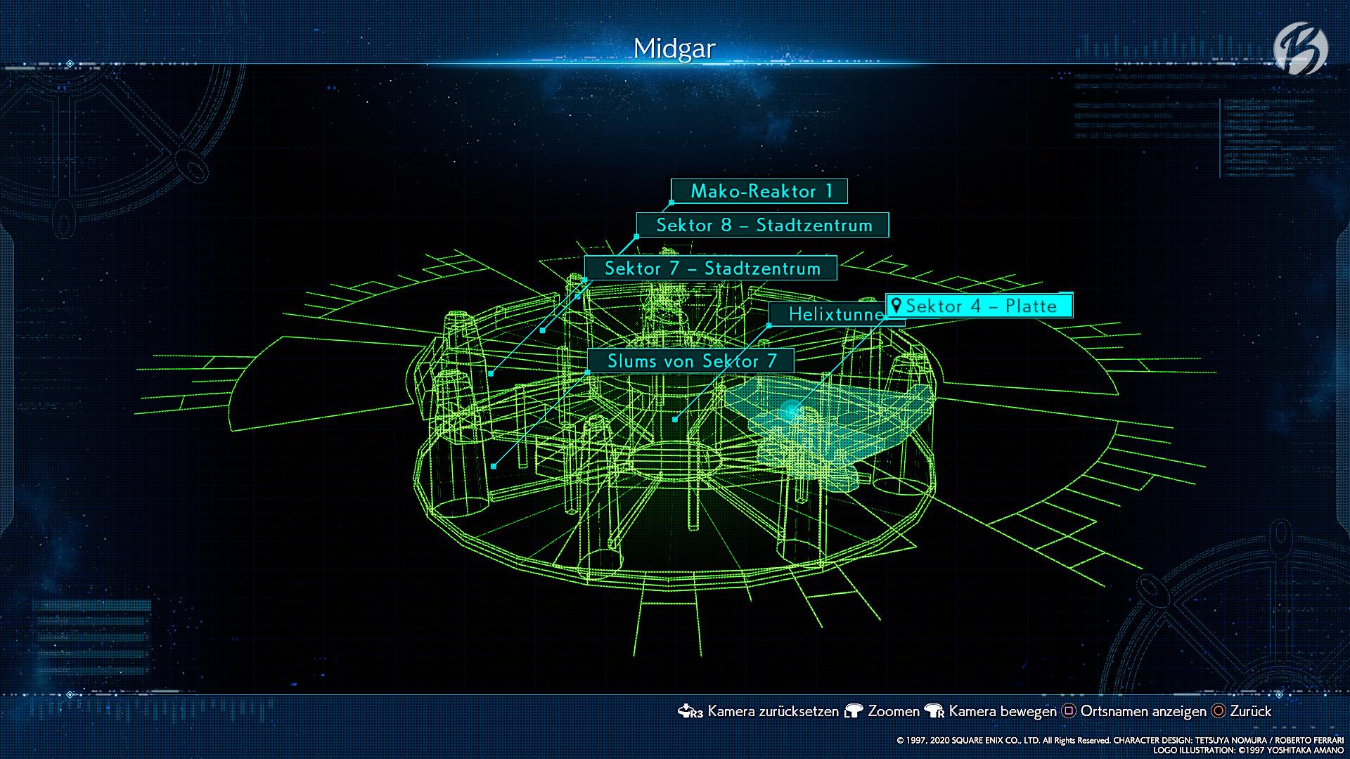 FINAL FANTASY VII (Remake) - Auf der Übersichtskarte von Midgar bekommen wir einen Eindruck, wo wir uns gerade befinden.
