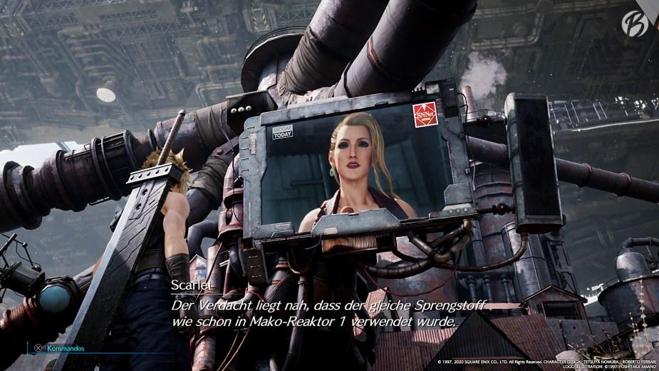 FINAL FANTASY VII (Remake) - Scarlet, die Sprecherin der Waffenentwicklung von Shinra, manipuliert die Einwohner von Midgar.