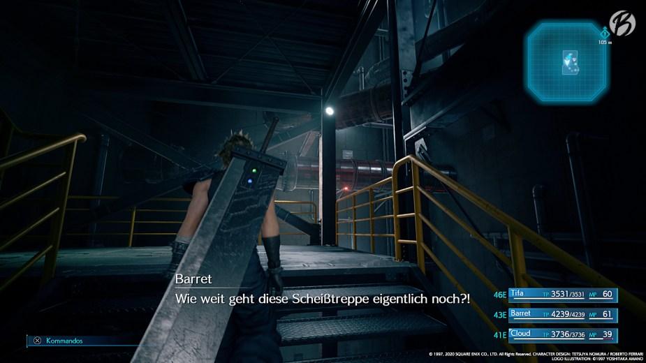 FINAL FANTASY VII (Remake) - Wie im Original (kampflos): Die fast endlose Treppe (Leider ohne witzige PS4-Trophäe).