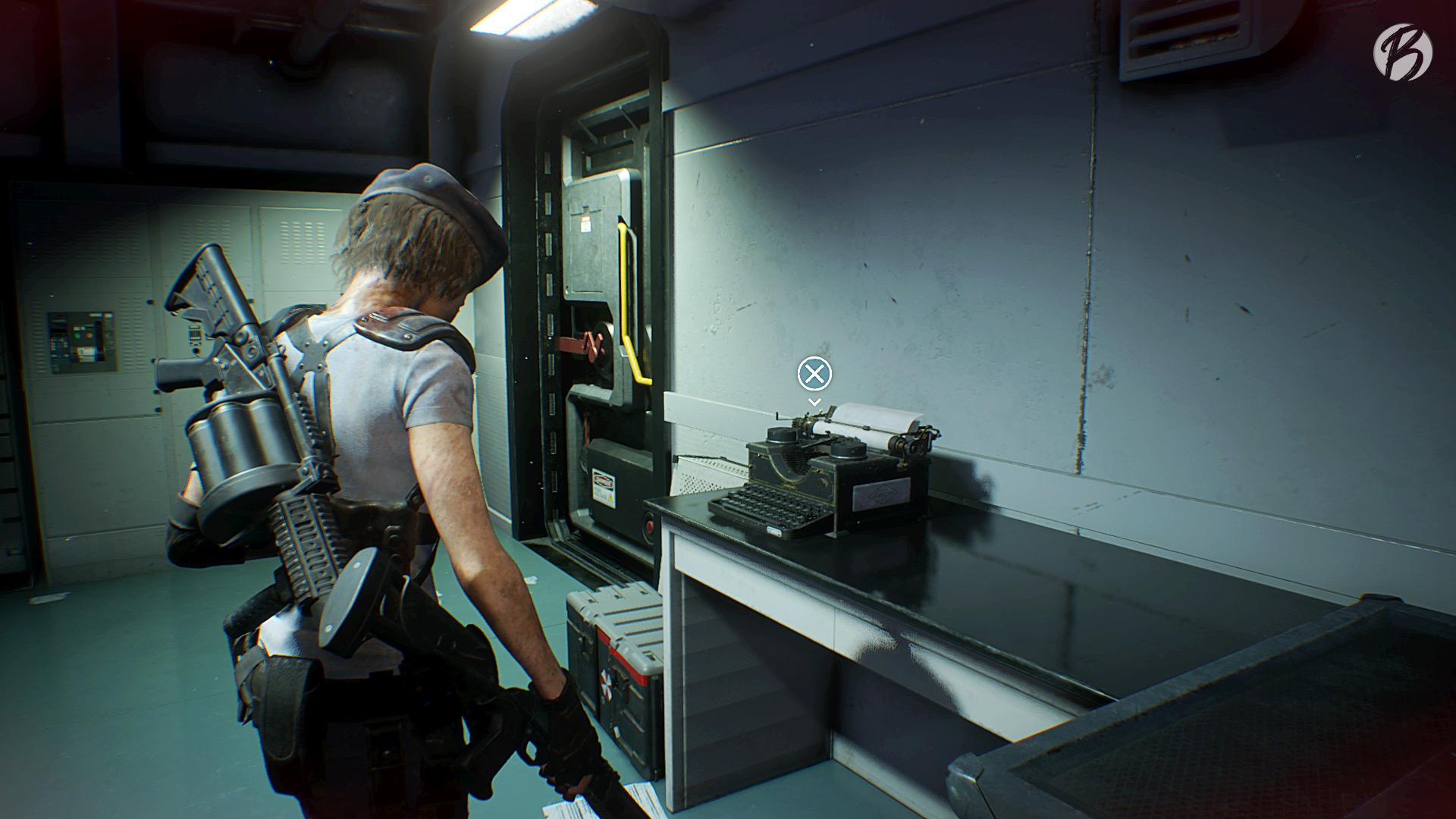 RESIDENT EVIL 3 (Remake) - Auch im dritten Teil wird stilecht wieder an einer uralten Schreibmaschine gespeichert.