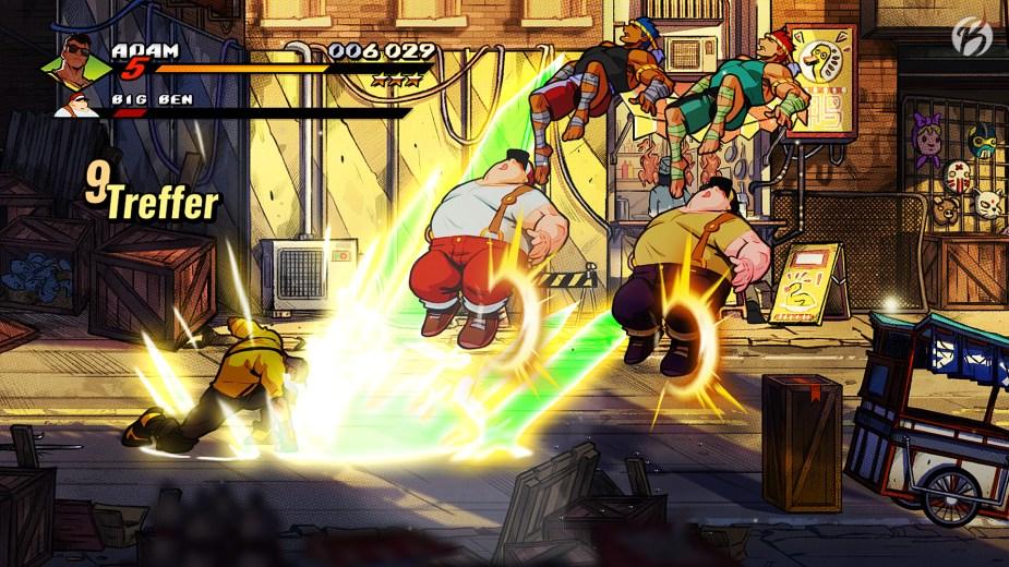 Streets of Rage 4 - Mit den gesammelten Sternen unter der Punktezahl lassen sich ultimative Attacken ausführen.