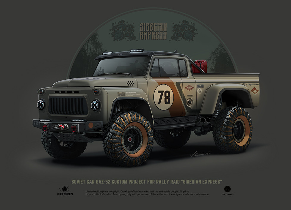 Quelle: Artstation - Andrey Tkachenko - GAZ-52 Siberian Express