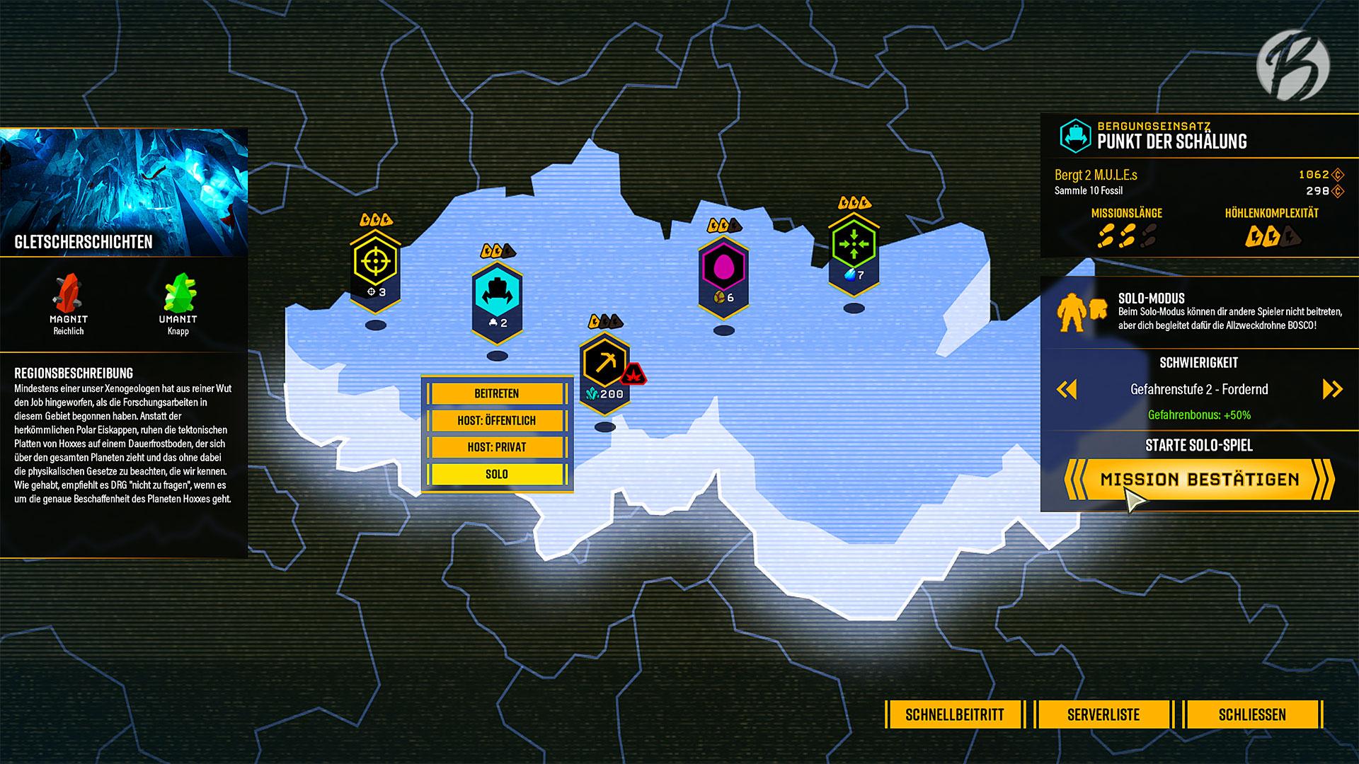 Deep Rock Galactic - Auf der Weltkarte wählen wir aus den verschiedenen Biomen unsere Missionen aus.