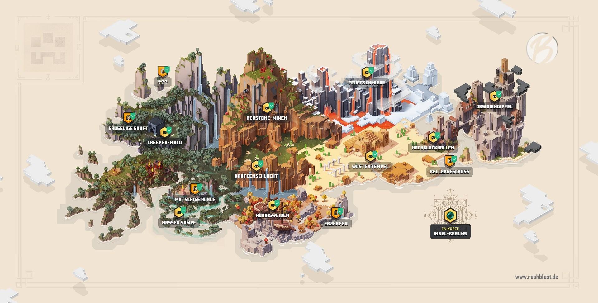 Minecraft Dungeons - Karte mit allen Missionen, Gebieten und Geheimnissen.