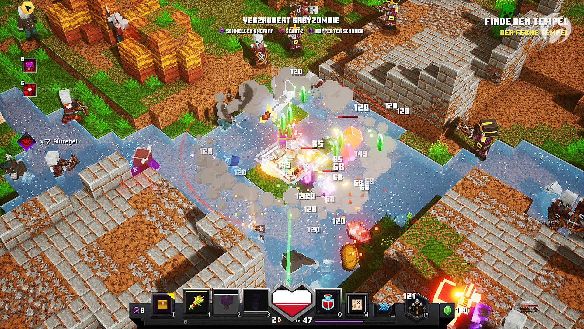 Minecraft Dungeons - Die Smaragde dienen als Tauschwährung bei den Händlern im Lager.