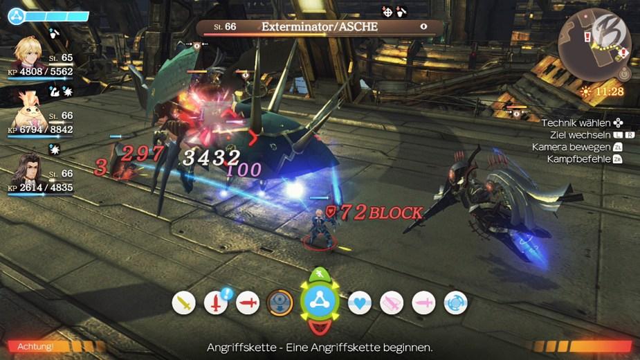Xenoblade Chronicles: Definitive Edition - Erscheinen die blauen Linien zwischen den Gruppenmitgliedern, lassen sich mächtige Angriffsketten ausführen.