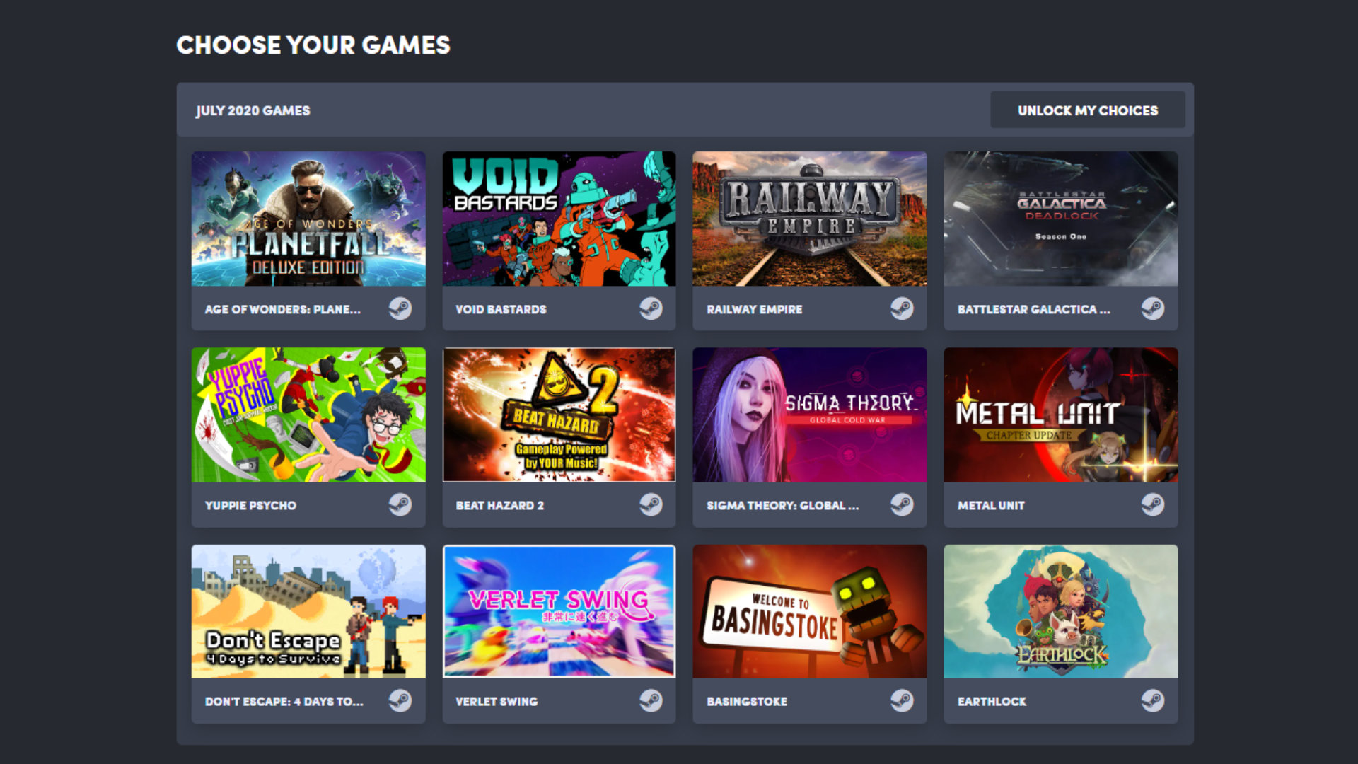 Quelle: Humble Bundle (Choice) - Juli 2020 Auswahl