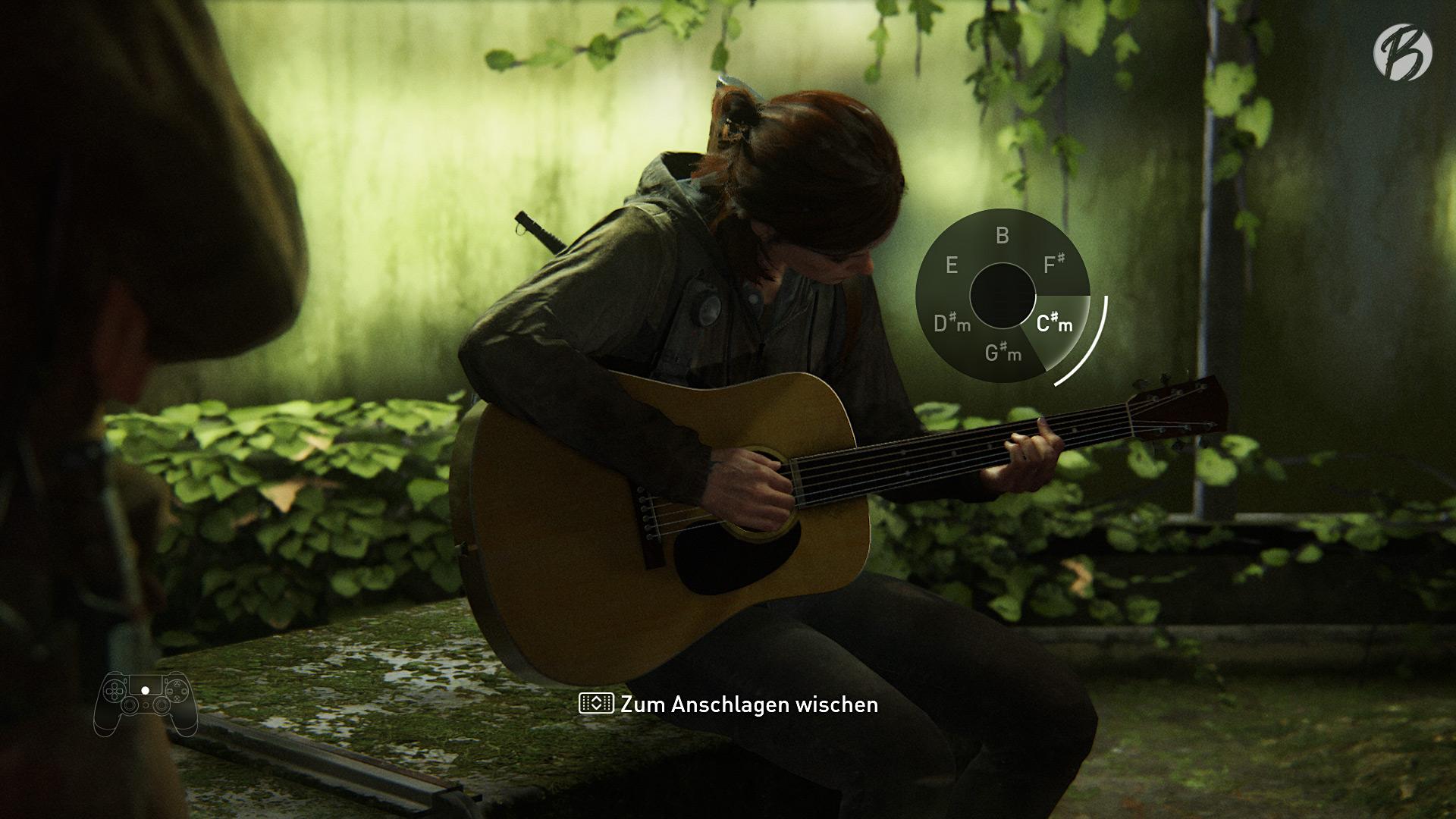 Jedes Mal wenn Ellie eine Gitarre findet, dürfen wir mit Hilfe des Touchpads in die Saiten hauen.