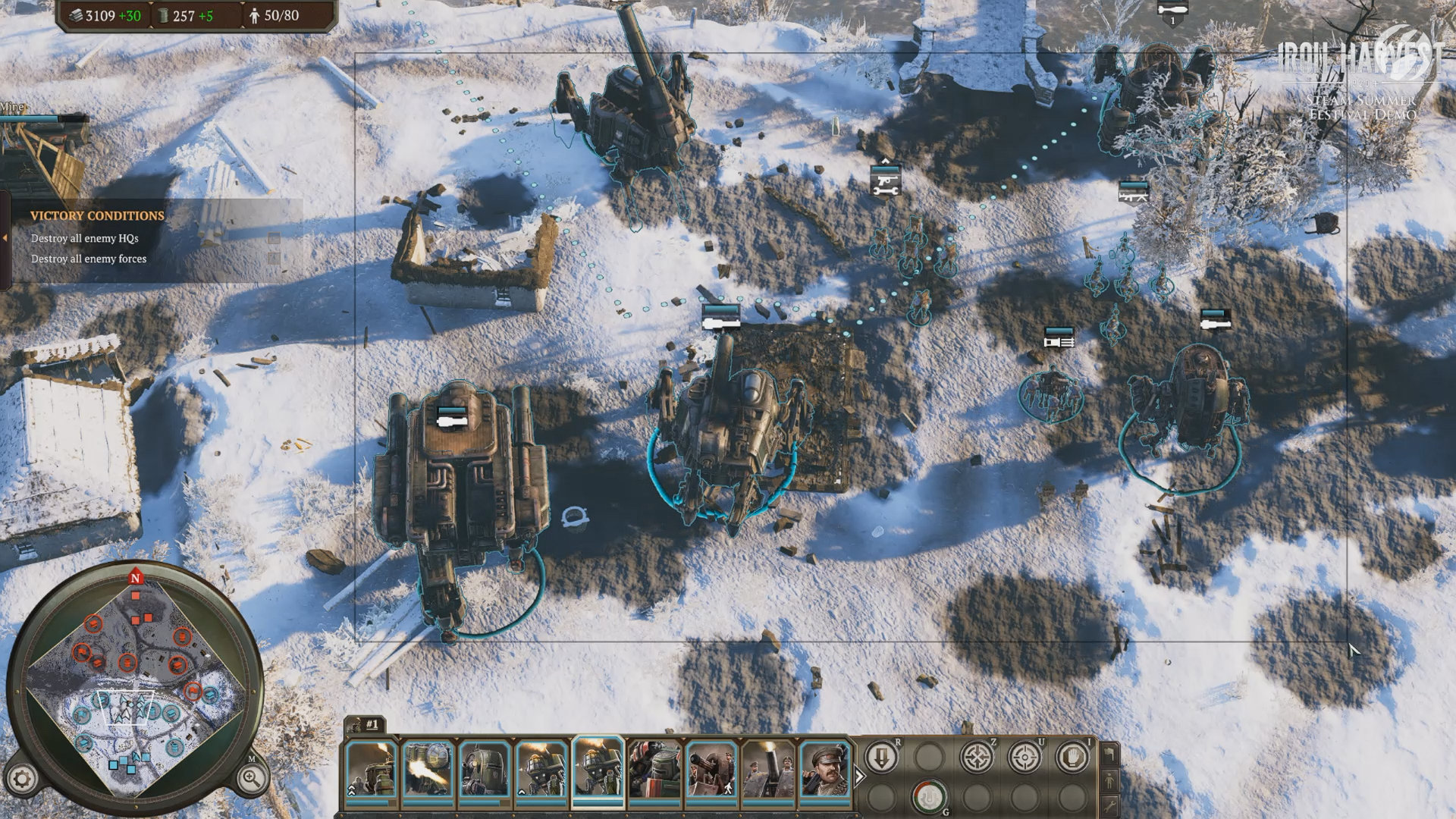 Iron Harvest - Artillerie an der Front ausrichten.