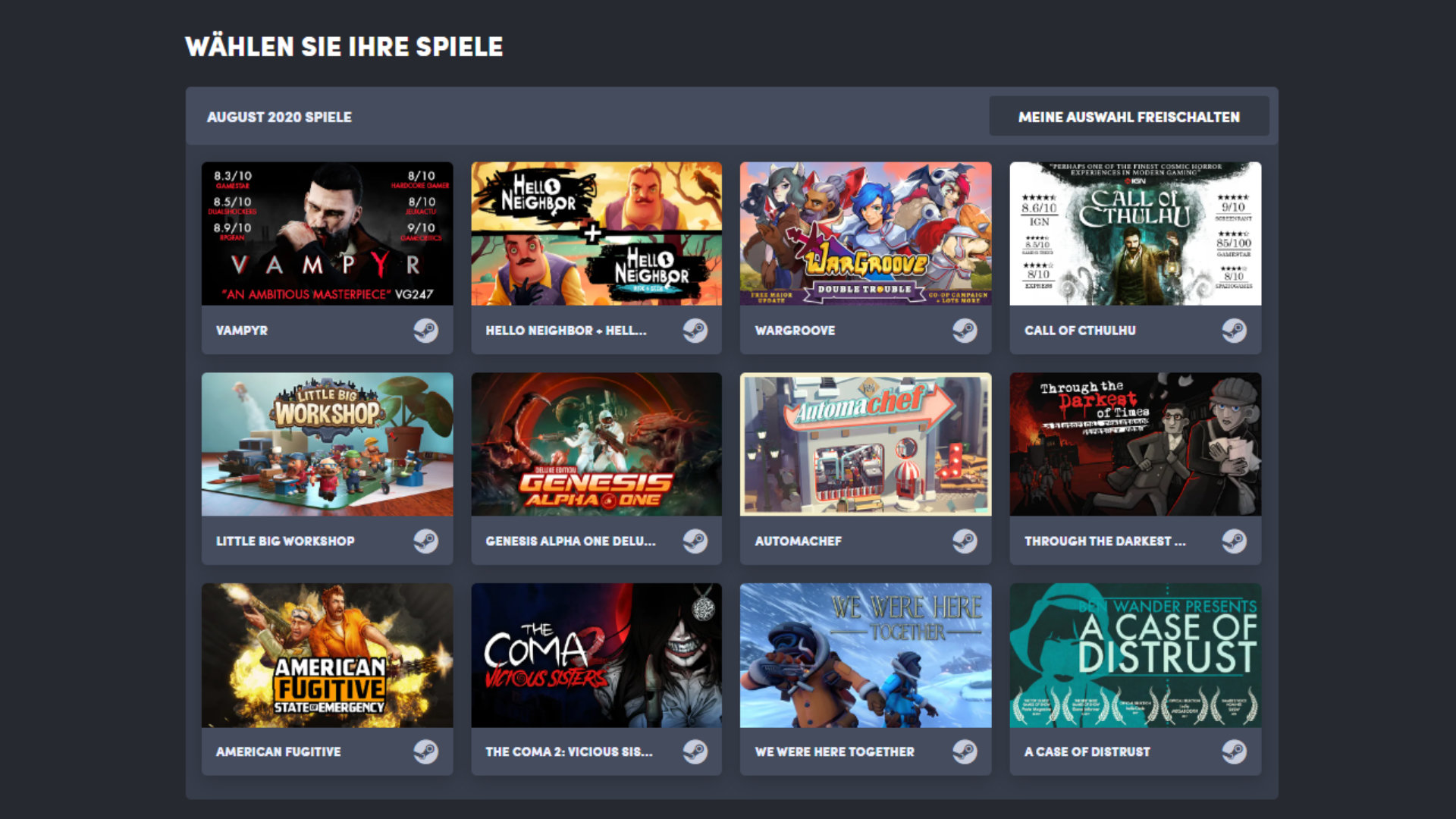 Quelle: Humble Bundle (Choice) - August 2020 Auswahl