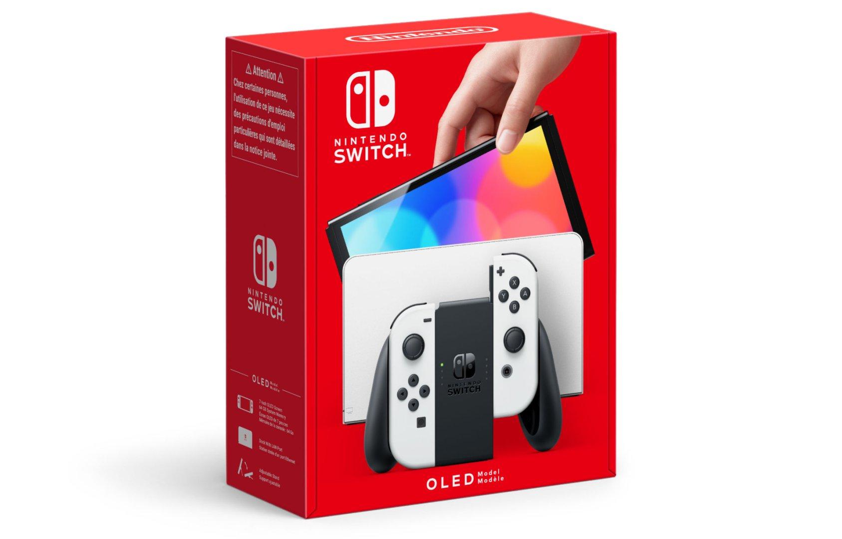 Quelle: Nintendo - Nintendo Switch (OLED-Modell) – Weiß: Diese Version beinhaltet weiße Joy-Con, eine schwarze Konsole und eine weiße Station.