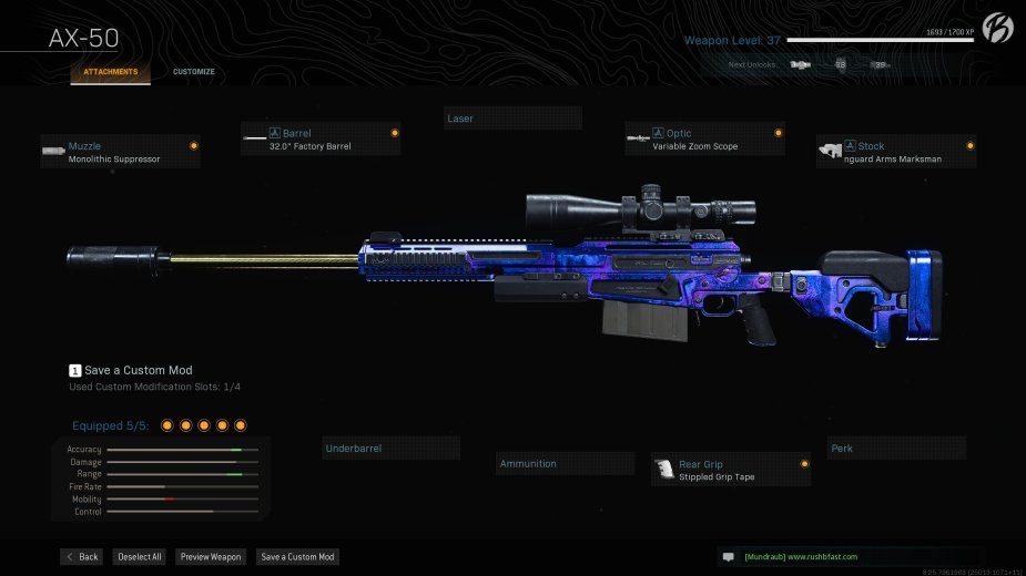 """AX-50: Monolithic Suppressor, 32.0"""" Factory Barrel, Variable Zoom Scope, Stippled Grip Tape, Singuard Arms Marksman"""