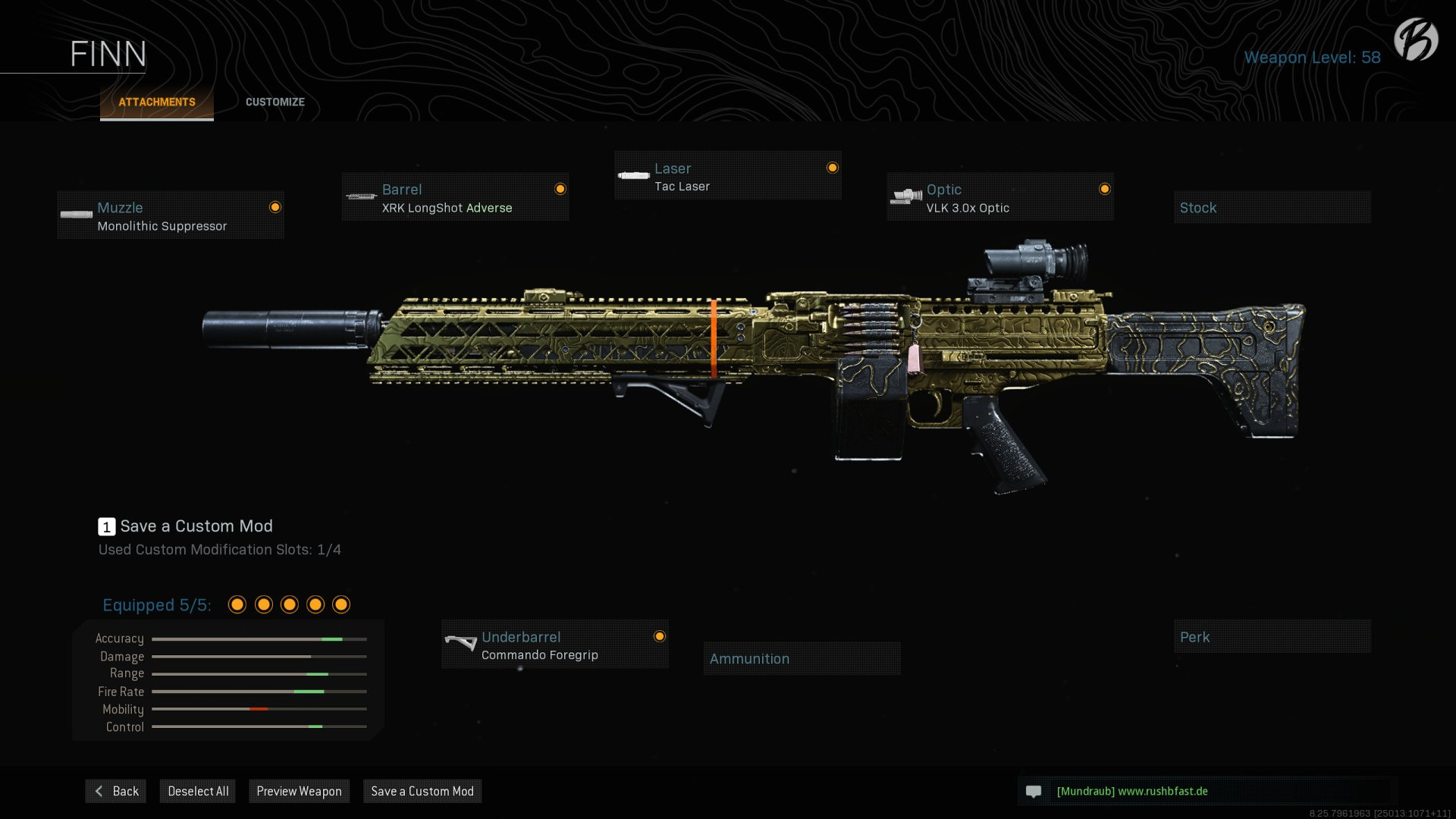 FiNN: Monolithic Suppressor, XRK LongShot Adverse, Tac Laser, VLK 3.0x Optic, Commando Foregrip