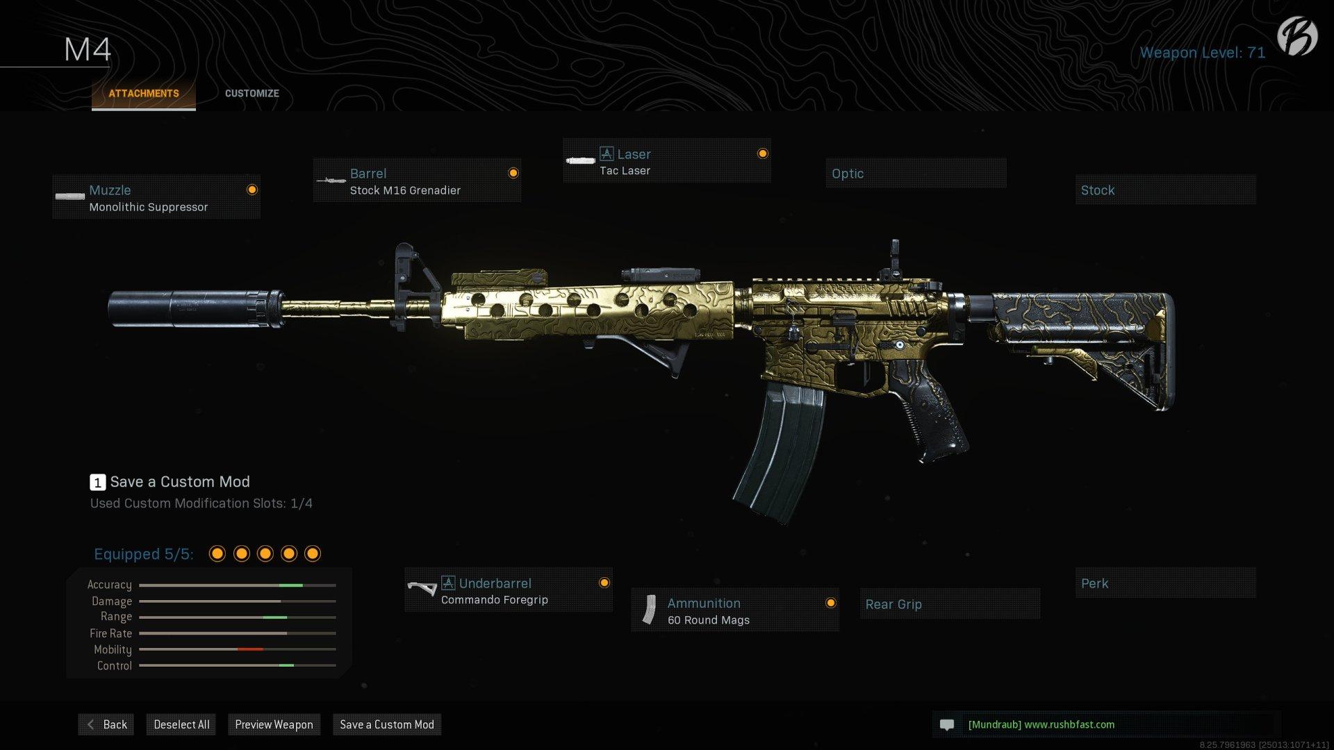 M4A1: Monolithic Suppressor, Stock M16 Grenadier, Tac Laser, Commando Foregrip, 60 Round Mags