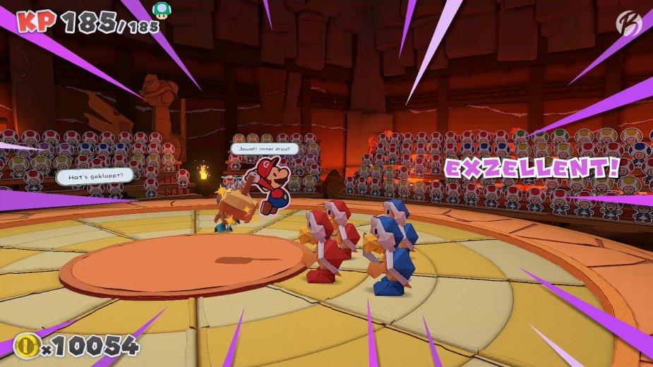 Paper Mario: The Origami King - Mit einem exzellenten Timing teilen wir den höchsten Schaden aus.