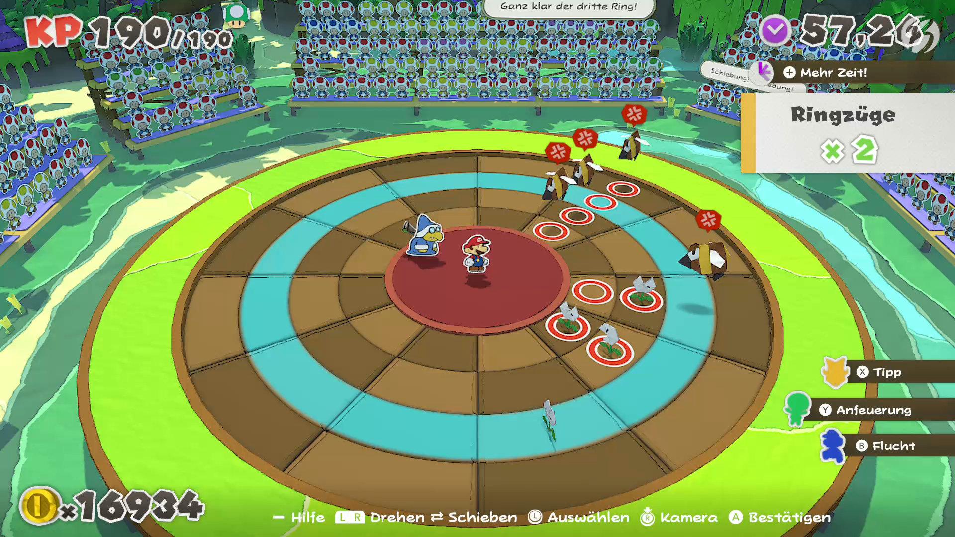 Paper Mario: The Origami King - Die Ringe unter den Gegner helfen bei der Anordnung der Bösewichte und lassen sich in den Spieloptionen aktivieren.