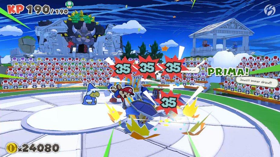 Paper Mario: The Origami King - Selbst die Spezialeffekte sind liebevoll aus Papier geformt.