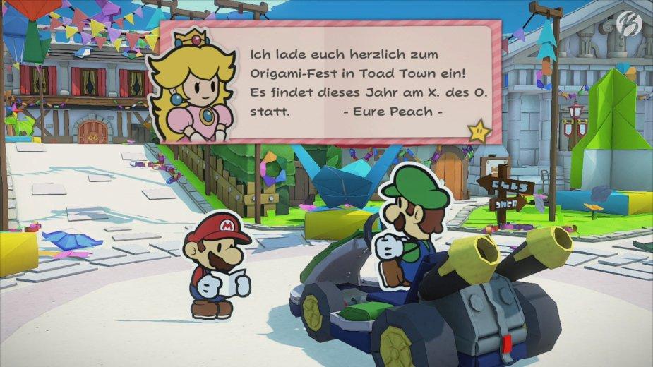 Paper Mario: The Origami King - Schnell noch einmal einen Blick in die Einladung werfen, ob auch alle Daten passen.