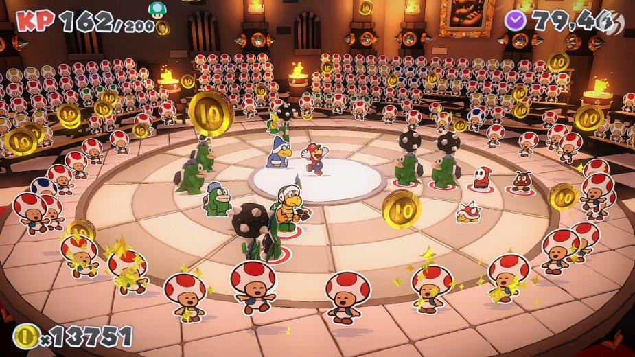 Paper Mario: The Origami King - Werfen wir Münzen in die Arena, eilen die Toads heran und helfen uns mit der Anordnung und mit nützlichen Items.