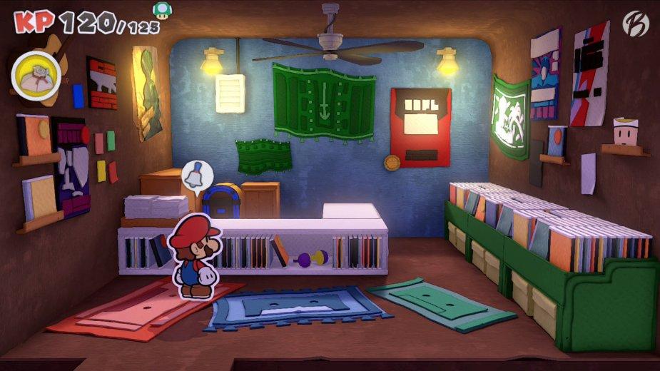 Paper Mario: The Origami King - Die Glocke über Marios Kopf verrät, hier ist ein Toad versteckt. Habt ihr ihn gefunden?