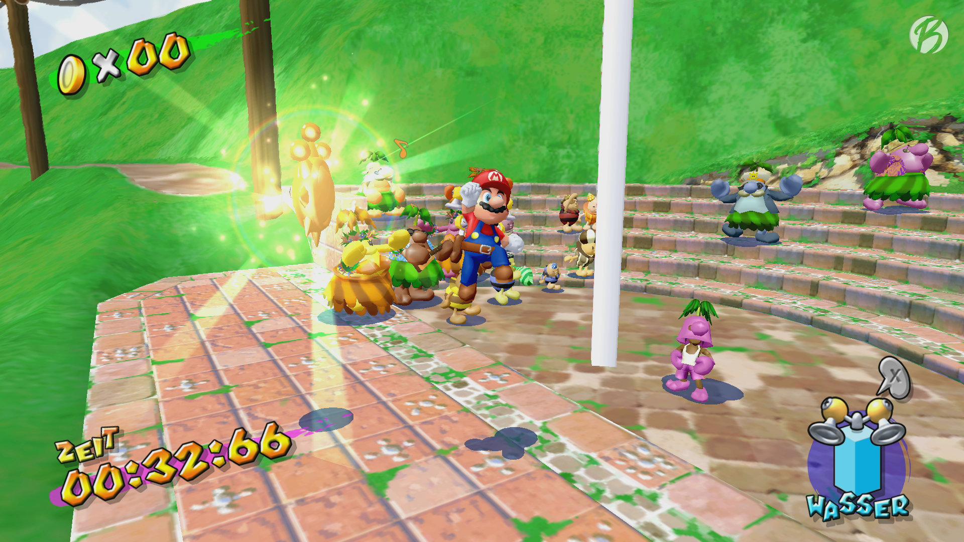 Super Mario 3D All-Stars - Super Mario Sunshine - Unter der lilafarbenen Maskierung (Palmathon) versteckt sich ein The Legend of Zelda Charakter!
