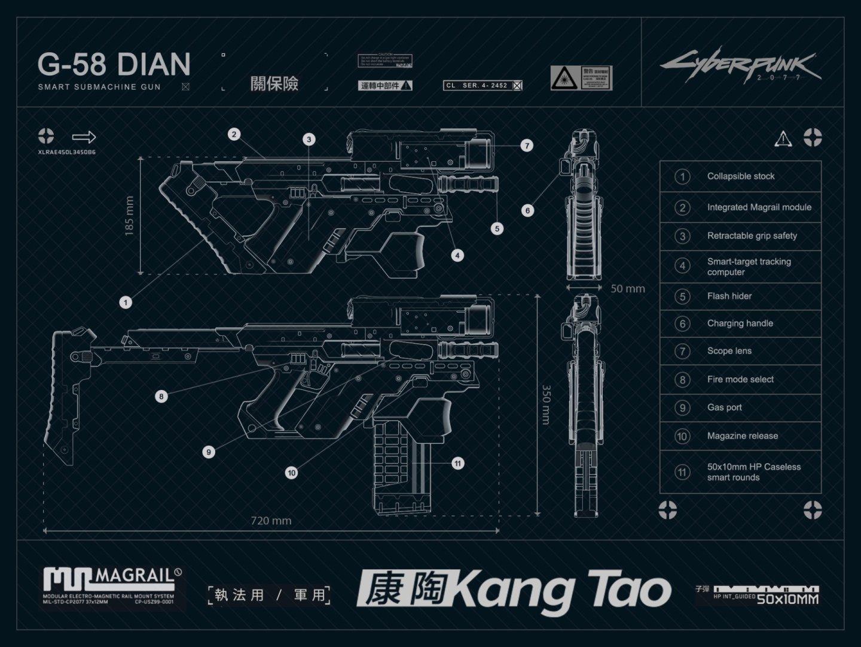 Quelle: CPR - Cyberpunk 2077 - Waffe Technische Zeichnung: Kang Tao G-58 DIAN