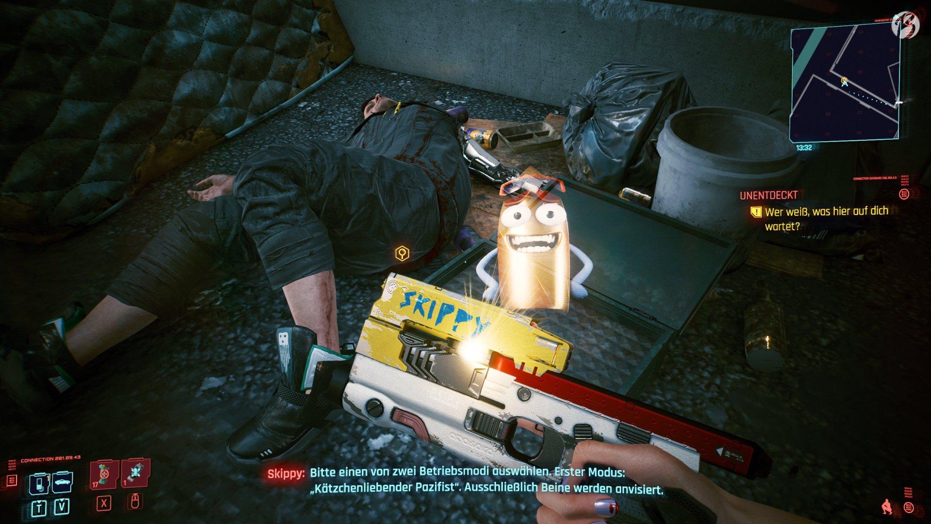 Cyberpunk 2077 - Die smarte Handfeuerwaffe »Skippy« spricht regelmäßig mit uns.