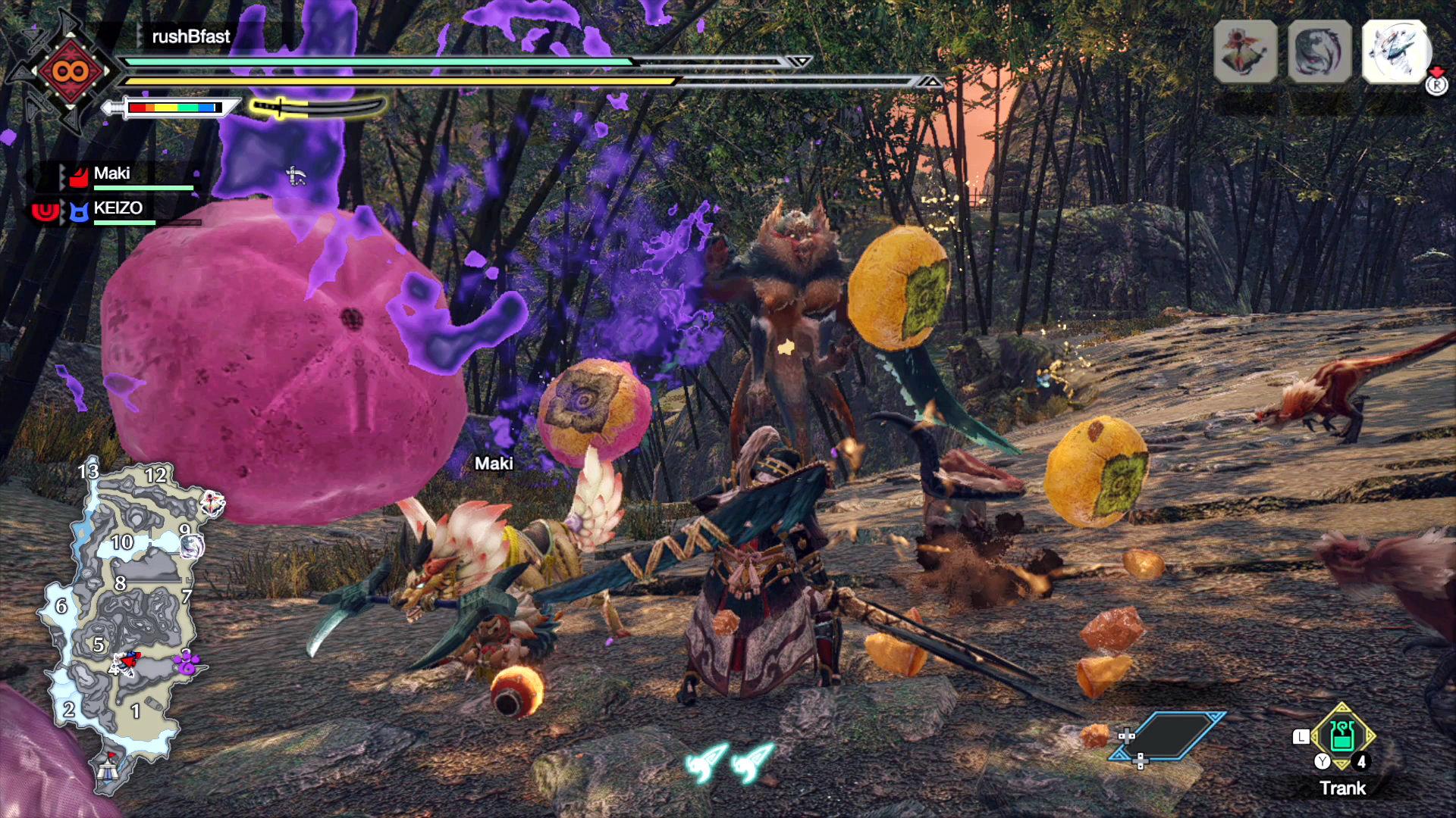 Monster Hunter Rise - Vorsicht gefährlicher Obstsalat! Der Bishaten wirft mit obergärigen Früchten.