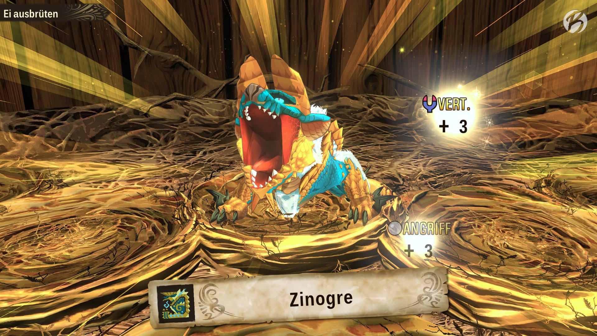 Monster Hunter Stories 2: WoR - Ein Zinogre mit guten Genen aus einem seltenen Ei ausgebrütet.