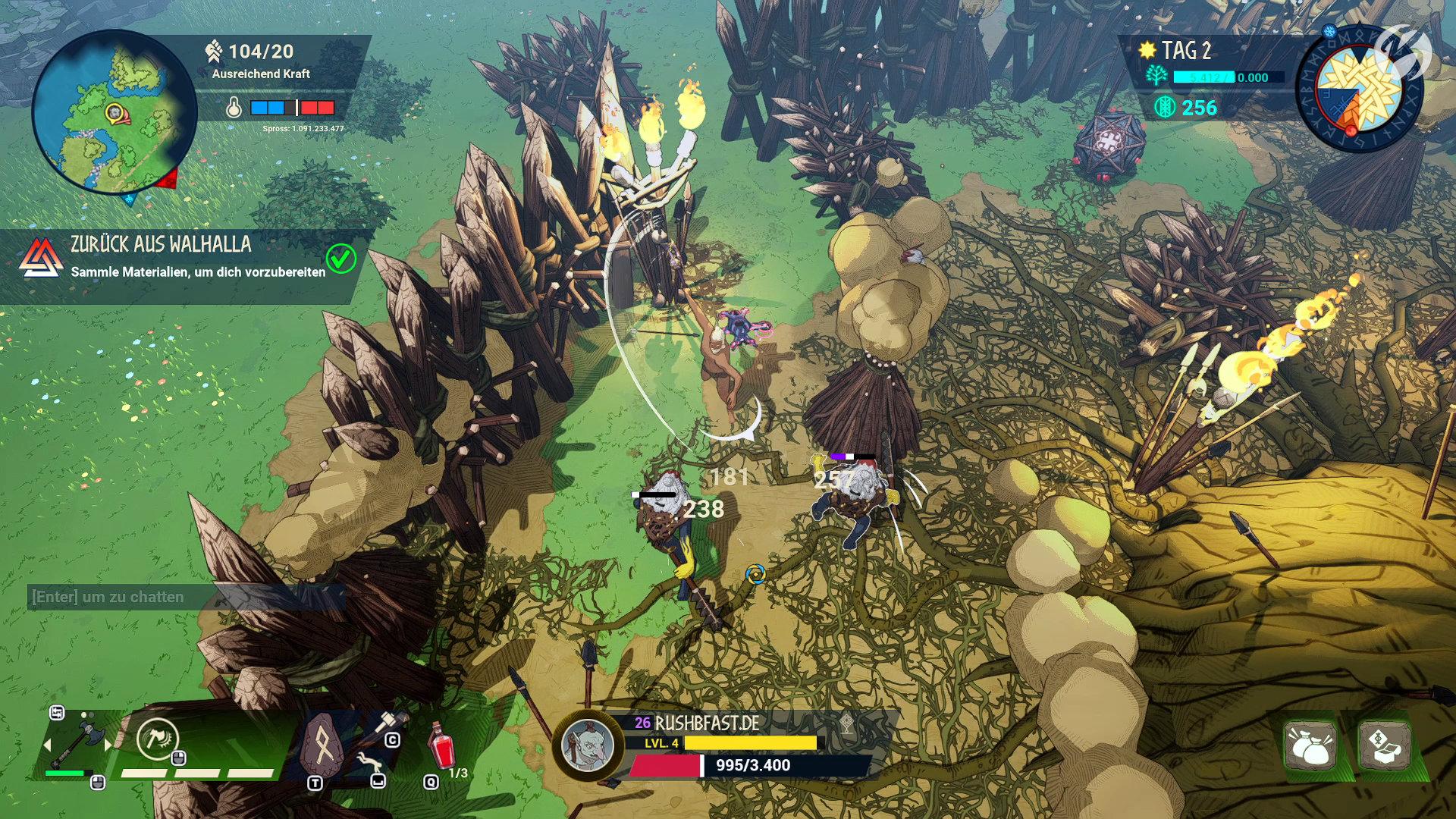 Tribes of Midgard - Überall auf der Karte befinden sich gegnerische Lager, die wir plündern können.
