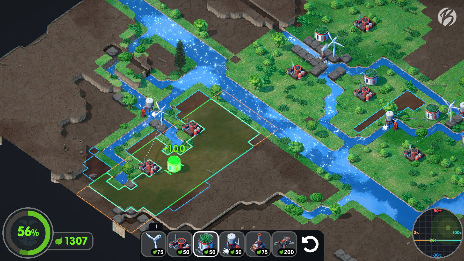 Terra Nil - Nur die Kombination aus der richtigen Infrastruktur lässt das Land wieder fruchtbar werden.