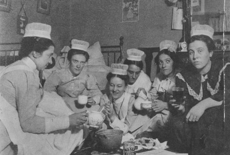 Nurses from St. Luke's Hospital Training School for Nurses take a cocoa break in 1900