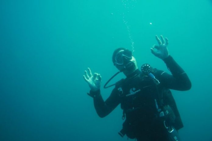 scuba diver having fun
