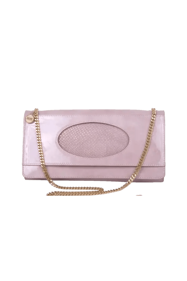 Pink Nude Patent Clutch Bag