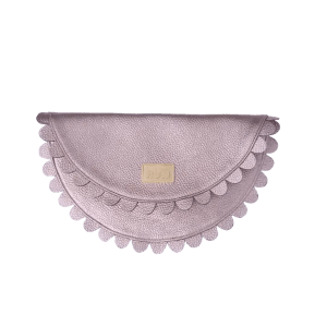 Gunmetal silver leather Clutch Bag