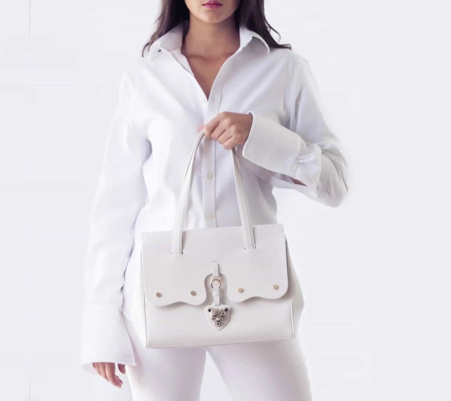 FIORE White Leather Bag by RusiDesigns