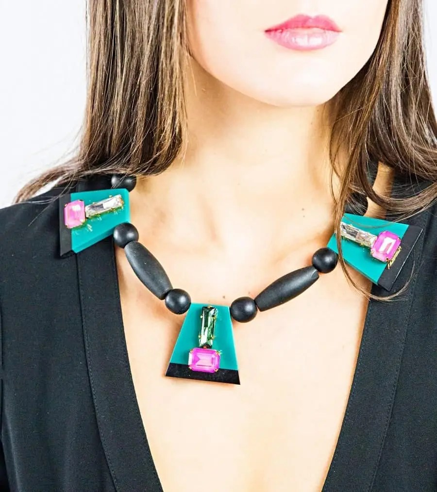 3 x blue pink black crystals black neckalce 1