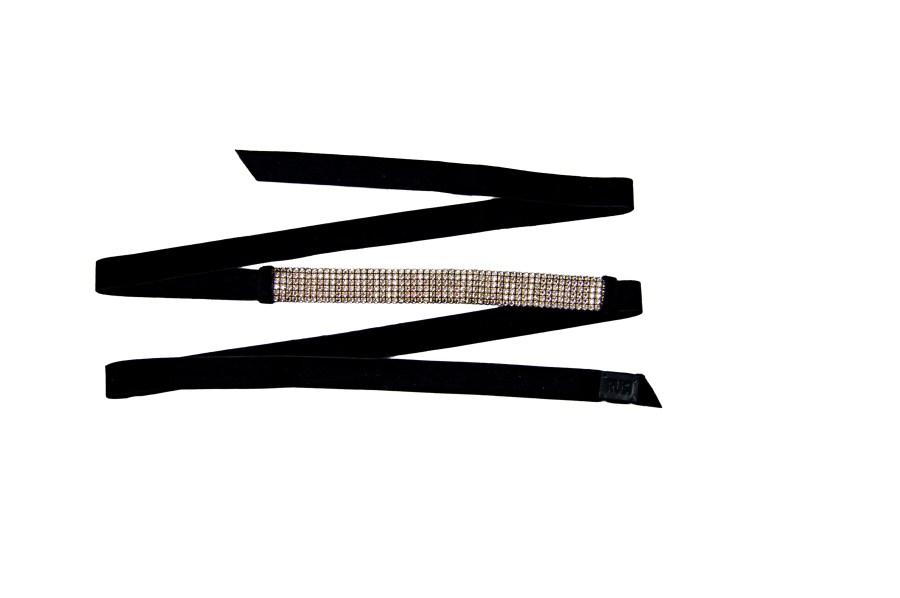 Velvet Crystal Embellished Belt