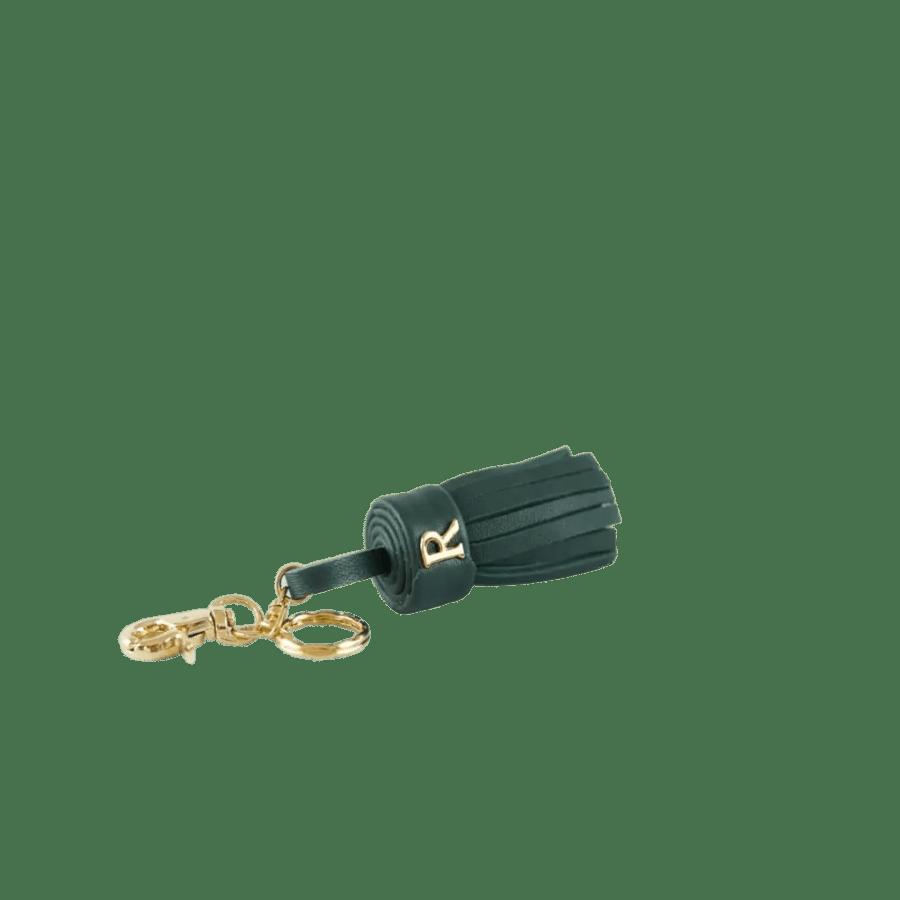 Green Leather Tassel Keychain