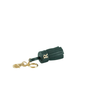 Green Leather Tassel Keychain