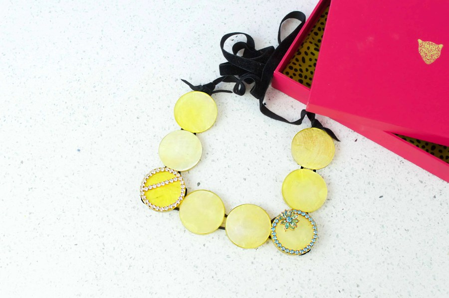 Yellow Full Moon Sqaure Necklace 1 box  scaled