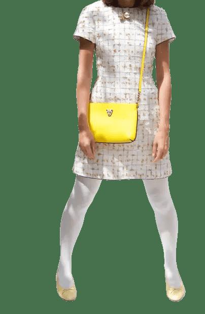 Yellow Cross Body white dress 1 1