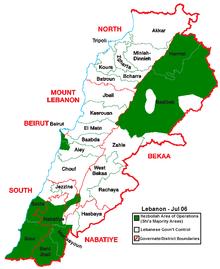 В зелено - териториите на Ливан, населени предимно със шиити. (Юли 2006)