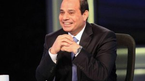 Presidential candidate and Egypt's former army chief Abdel Fattah al-Sisi talks during a television interview broadcast on CBC and ONTV, in Cairo