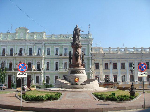 гр Одеса, Украйна. Паметник на Екатерина II-основателката на Одеса.