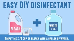 one third cup bleach to one gallon of water to disinfect