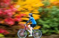 Fall colors are a blur in this slow motion photo of a cyclist on Lewiston Junction Road in Auburn during Sunday's 8th Annual Dempsey Challenge Sunday morning.
